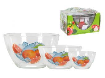 Набор салатников Трио 3пр Фрукты со льдом