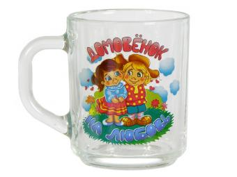 Кружка Домовенок 250мл для чая стеклянная