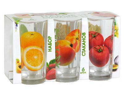Набор стаканов для сока Фрукты 200мл 6шт  146-Д