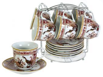 Чайный набор Павлины 12пр на метал подставке
