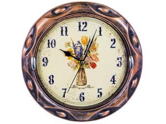 Часы настенные 24,6см круглые Букет