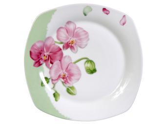 Тарелка Орхидея плоская квадратная 20см