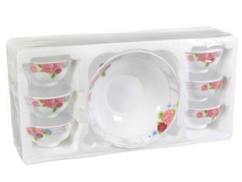 Набор стеклянных салатников 7пр Розы