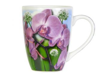 Кружка бочка 340мл Орхидеи