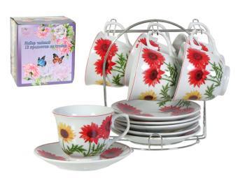 Чайный набор 12пр Красные подсолнухи на подставке
