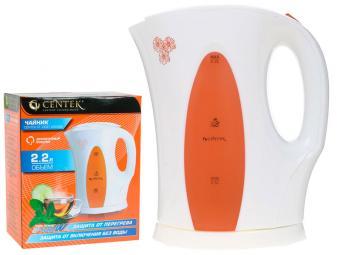 Чайник эл 2,2л Centek спираль 2400Вт шкала уровня воды Orange
