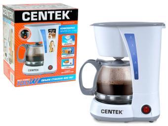 Кофеварка 600мл Centek (белая) капельная 700Вт, многоразовый фильтр