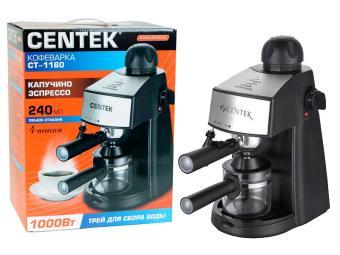 Кофеварка 240мл Centek (черный) капучино, эспрессо 1000Вт, 15Бар, противокап.система