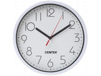 Часы настенные кварцевые Centek (белый) 23см круг, шаговый ход