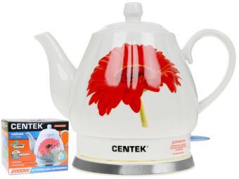 Чайник эл. 2л Centek 2000Вт, супербелая керамика, рельефный корпус