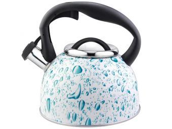 Чайник 2,5л Lacrima нерж со свистком белый с голубыми каплями