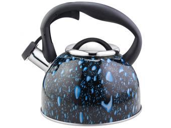 Чайник 2,5л Lacrima нерж со свистком черный с синими каплями
