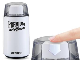 Кофемолка Centek White (белый) 250Вт 45г 5 чашек прозрачная крышка