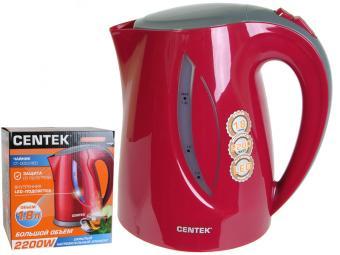 Чайник эл. 1,8л Centek 2200Вт, внутр. LED подстветка, уровень воды, фильтр