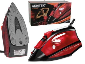 Утюг Centek (красный) 2500Вт, керамическая подошва, 270мл, паровой удар, самоочистка, капля-стоп