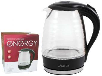 Чайник эл 1,7л ENERGY E-283 wave стекло, пластик (черный)