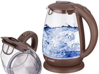 Чайник эл. 1,7л 2200Вт Hottek стекло (коричневый)