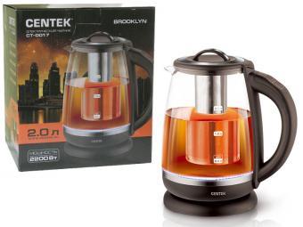 Чайник электрический 2л стеклянный Centek CT-0017 Brooklyn