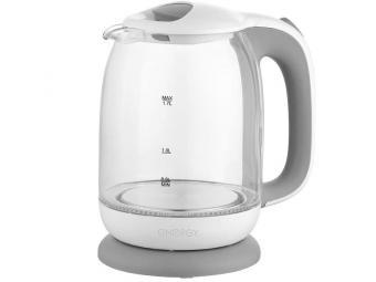 Чайник электрический 1,7л стеклянный ENERGY E-281 бело-серый