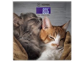 Весы напольные электронные Кошки 180 кг стекло