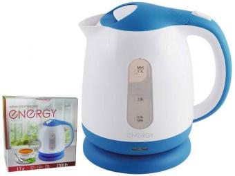 Чайник эл. 1,7л пластик ENERGY E-293 бело-голубой