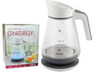 Чайник эл. 1,5л стекло пластик ENERGY E-297 бело-серый