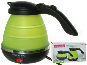 Чайник эл. 0,5л складной силиконовый (зелёный с чёрным)