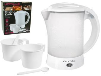 Чайник электрический 0,6л пластиковый, белый-матовый c чашками и ложками