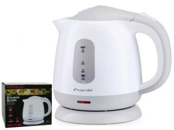 Чайник электрический 1л пластиковый, белый-серый 1719 B