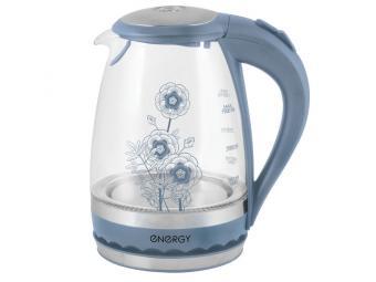 Чайник электрический стеклянный 1,5л диск Синий En