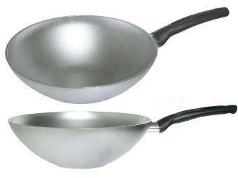 Сковорода 28см WOK без покрытия с ручкой