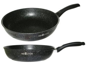 Сковорода 26см с покрытием темный мрамор Marble Induction