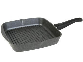 Сковорода гриль 26*26см квадр съемная ручка Гранит