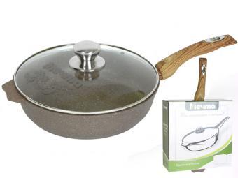 Сковорода 22см АП Гранит brown с несъемной ручкой стекл. крышкой