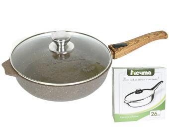Сковорода 30см АП Гранит brown со съемной ручкой и стекл.крышкой
