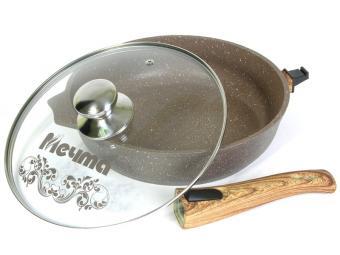 Сковорода 24см АП Гранит brown со съемной ручкой и стекл.крышкой Мечта