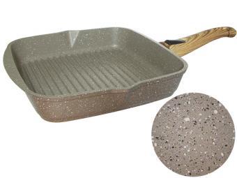 Сковорода-гриль 26см квадратная с покрытием Гранит brown со съемной ручкой