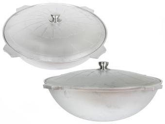 Казан 22л для плова алюминиевый с крышкой без покрытия