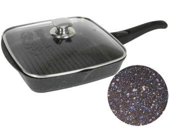 Сковорода гриль 28*28 Гранит star со съемной ручкой и крышкой