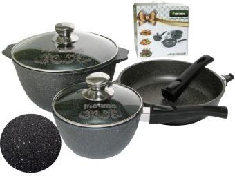 Набор литой алюминиевой посуды с покрытием Гранит black 20398
