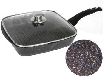 Сковорода-гриль квадр 24*24 Гранит star с несъемной ручкой и крышкой