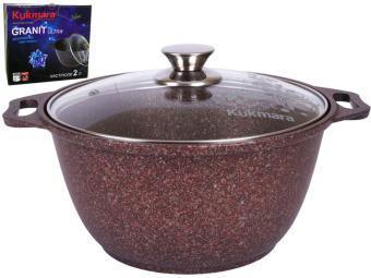 Кастрюля 2л со стеклянной крышкой с покрытием Granit ultra red