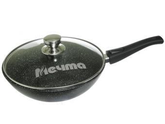 Сковорода ВОК 28см Гранит black со съемной ручкой и стеклянной крышкой