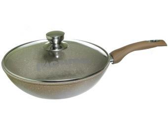 Сковорода ВОК 28см Гранит brown с несъемной ручкой и стеклянной крышкой