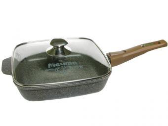 Сковорода 24*24см Premium mokko со съемной ручкой и стеклянной крышкой