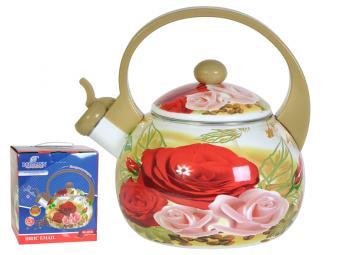 Чайник эмаль 2,5л со свистком Роза и зерна кофе