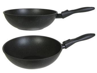Сковорода ВОК 28см Гранит black съемная ручка