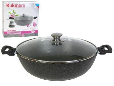 Сковорода 30см темный мрамор с ручкой Kukmara смт308а