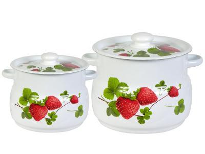Набор кастрюль ''Летняя ягода'' (4, 5, 5л) Стальэмаль (Новокузнецк)