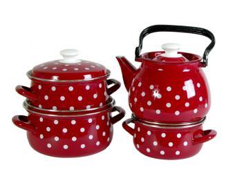 Набор кастрюль ''Моника красная-3'' с чайником
